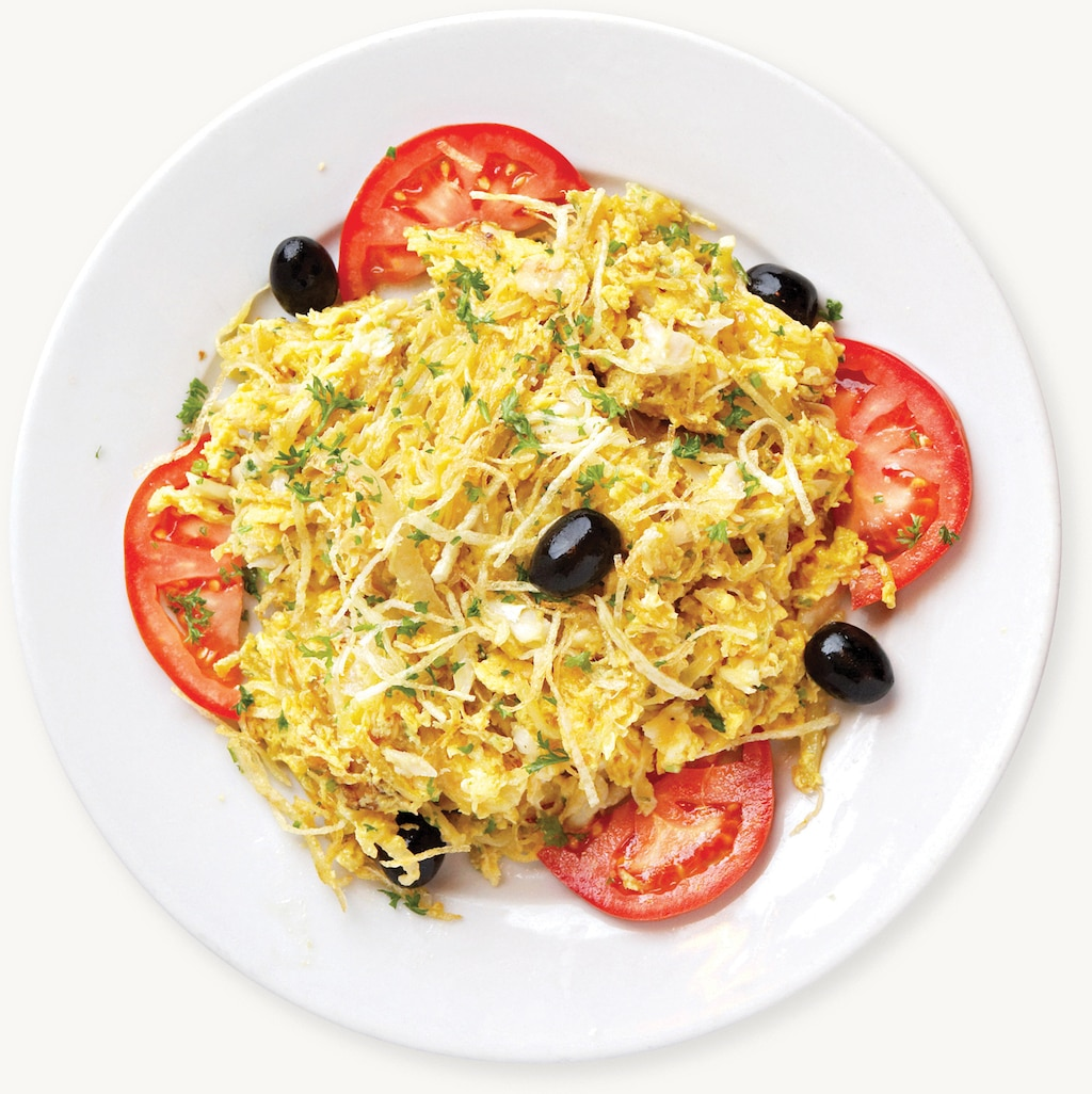 Fried Bacalhau with Egg, Onion, and Julienne Potatoes